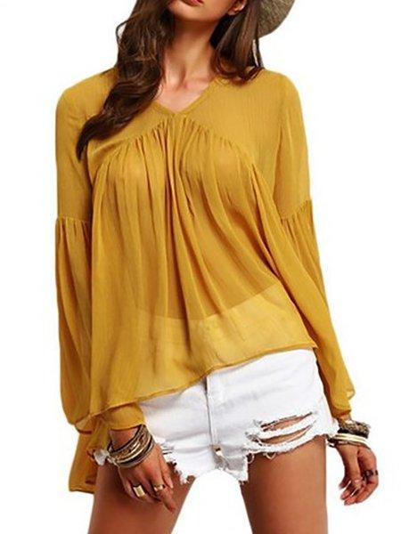 Casual V Neck Chiffon Shirts Blouse