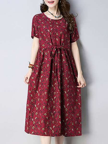 Casual Short Sleeve A-line Printed Print Dresses