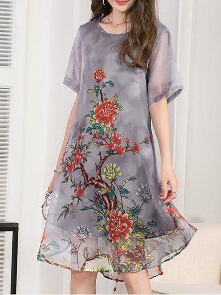 Women Print Dress Crew Neck Date Short Sleeve Floral Dress
