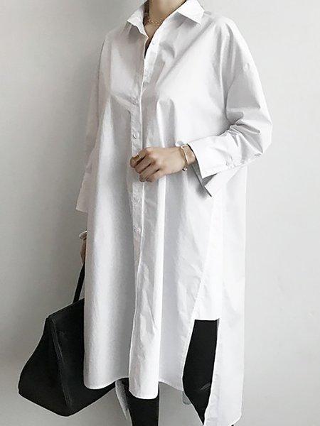 Long Sleeve Casual Shift Paneled Casual Dresses