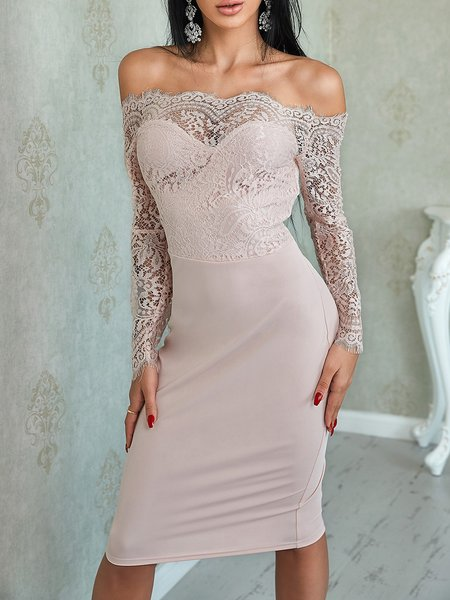 Bodycon Long Sleeve Off Shoulder Lace Prom Dresses