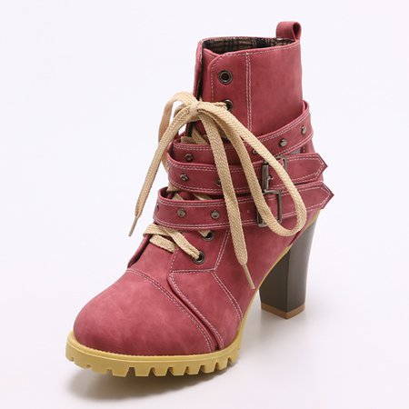 Lace-up Chunky Heel Casual Daily Boots