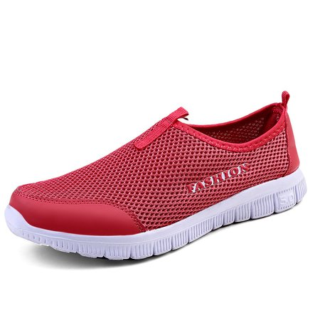 Hollow-out Mesh Fabric Athletic Slip On Sneakers