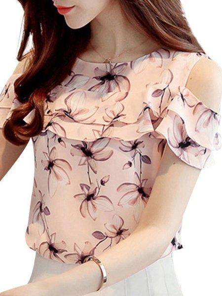 Floral Sweet Cold Shoulder T-Shirt