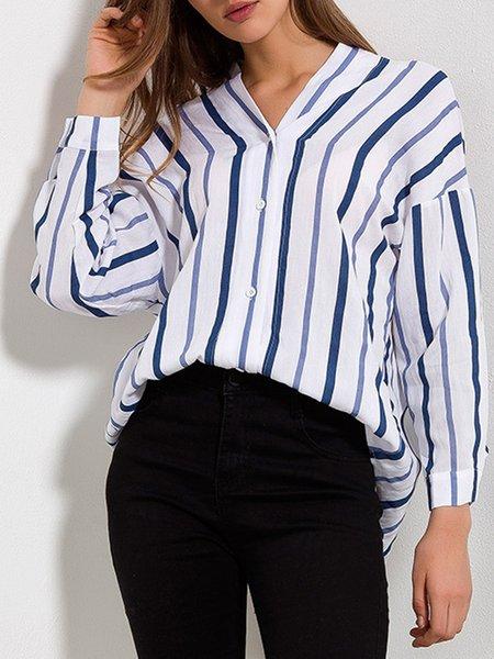 White-blue Long Sleeve V Neck Shirts Blouse