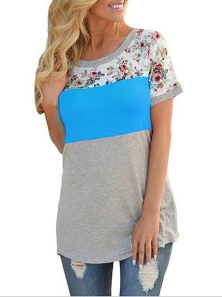 Contrast Color Floral Stitching T-shirt