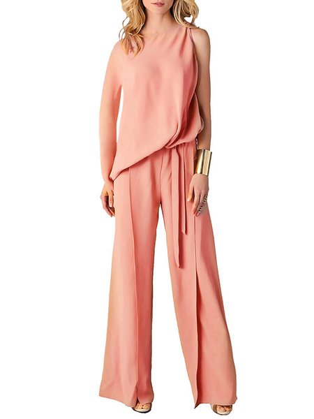 Paneled Elegant Single Sleeve Jumpsuit