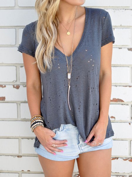 Deep Gray V-neck Hollow Out Short Sleeves T-shirts