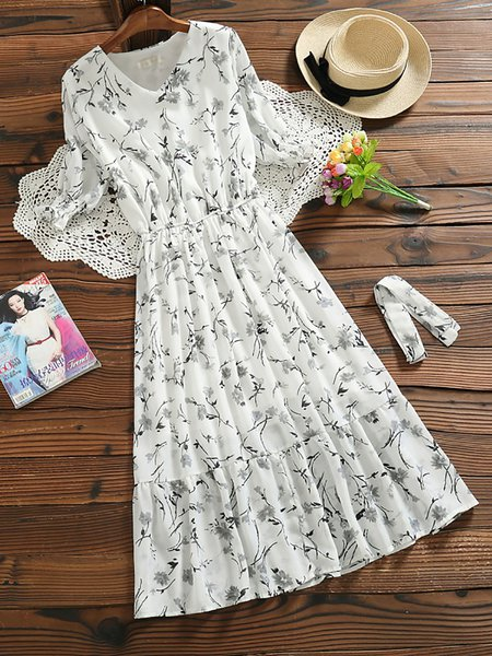 Paneled Ruffled V neck Swing Print Dresses