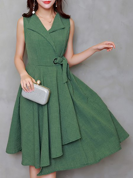 Women Casual Dress V neck Swing Daily Sleeveless Casual Dress
