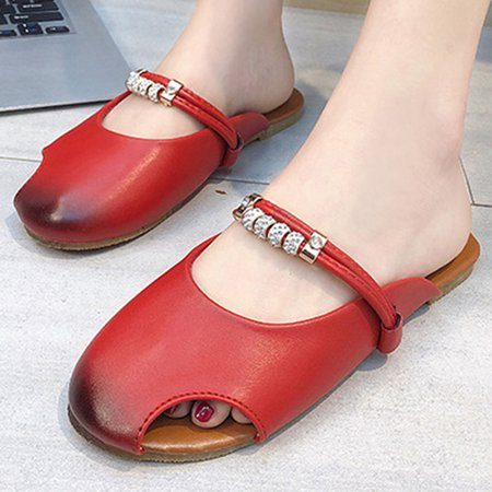 Plain Round Toe Casual Slippers