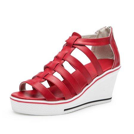 Casual Leather Zipper Wedge Heel Sandals