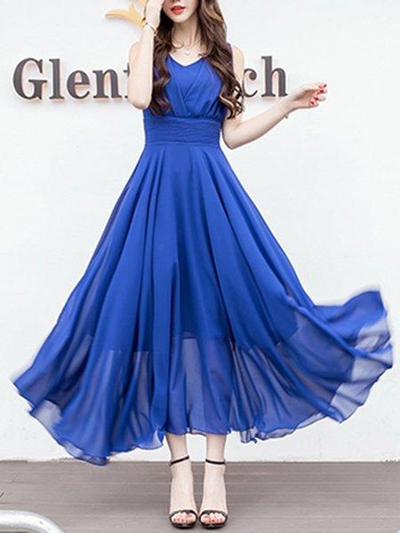 Women Prom Dress V neck Swing Party Sleeveless Elegant Dress