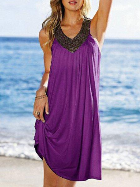 Sleeveless Elegant Paneled V-Neck Casual Dresses