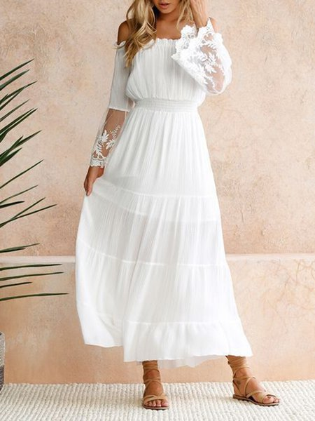 White Women Elegant Dress Beach Sleeveless Paneled Dress