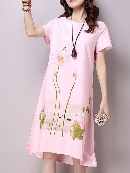 Women Print Dress Crew Neck Daytime Short Sleeve Elegant Dress