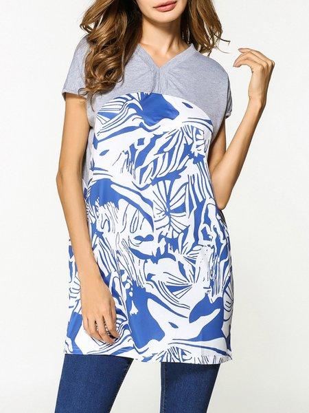 Royal blue Floral-print Short Sleeve T-Shirt