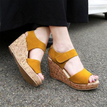 Wedge Heel Magic Tape Nubuck Sandals