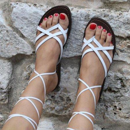 Ladies Ankle Strap Flats Flip Flops Sandals