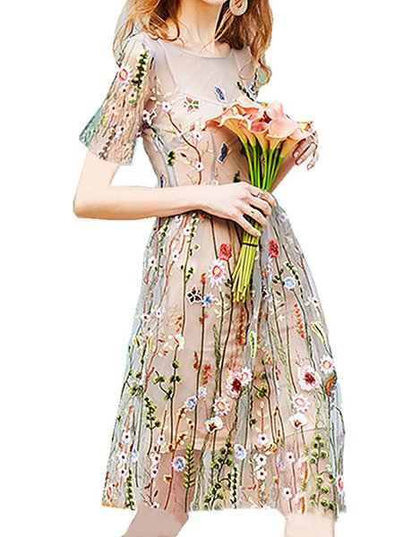 Women Elegant Dress Crew Neck A-line Date Short Sleeve Elegant Dress