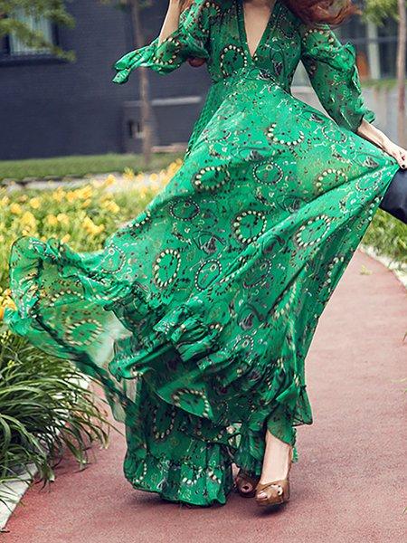 Green Women Print Dress Crew Neck Daily Paneled Floral Dress