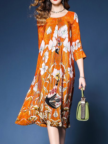 Orange Women Casual Dress Crew Neck Daily Half Sleeve Floral Dress