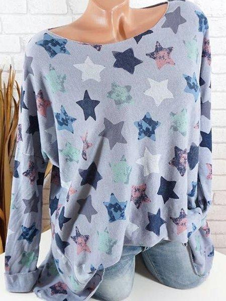 Long Sleeve Crew Neck Geometric Cotton T-Shirt