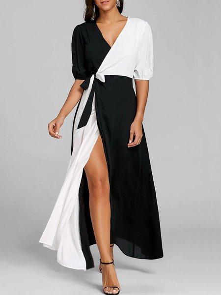 Women Casual Dress V neck Prom Half Sleeve Casual Dress