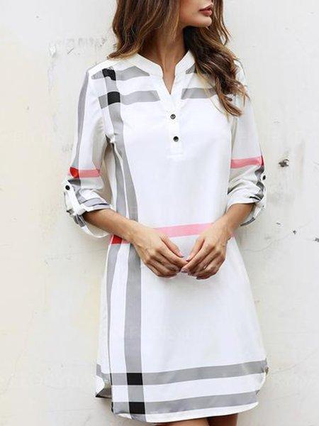 White Women Casual Dress V neck Sheath Date Buttoned Checkered/Plaid Dress