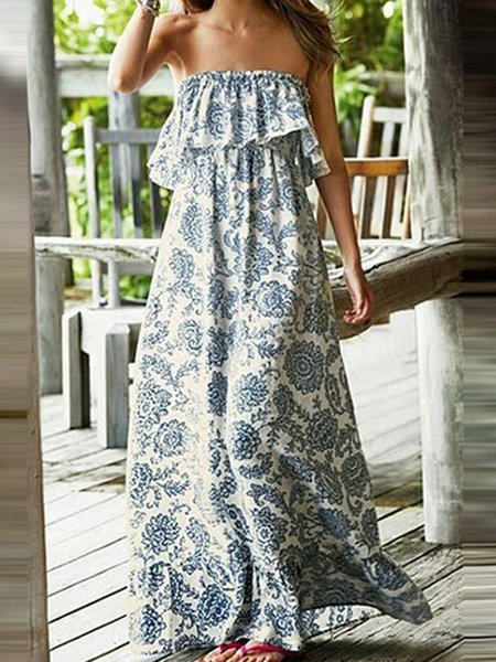 Blue Women Print Dress Off Shoulder Swing Casual Floral Dress