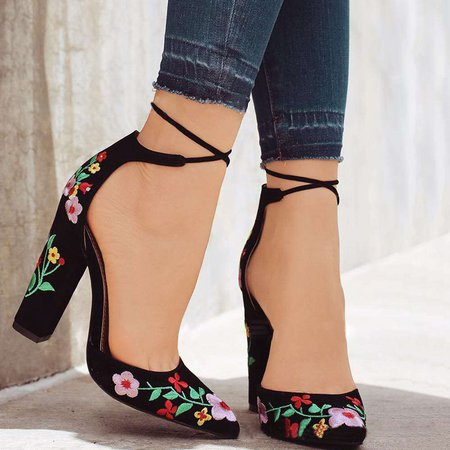 Casual Floral Embroidered Chunky Heel Lace-up Pumps