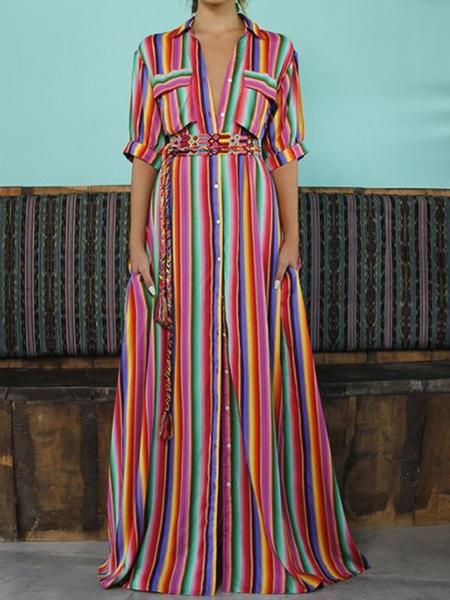 Fashion Dress Buttoned Women