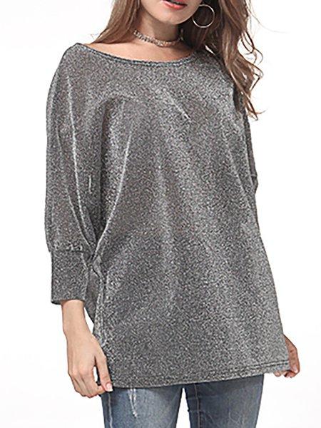 Silver Crew Neck Cotton-blend T-Shirt