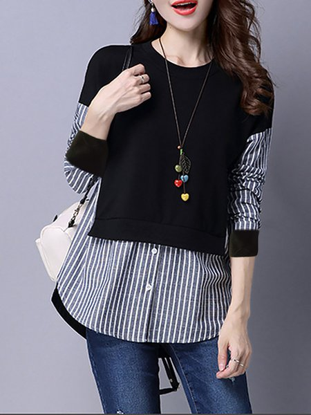 Paneled Buttoned Stripes Long Sleeve Blouse