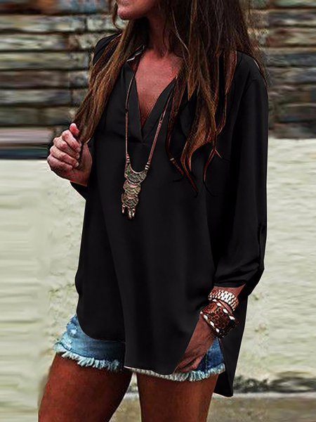 Navy Blue Long Sleeve Blouse