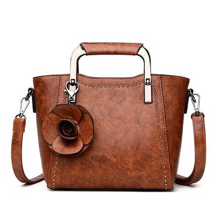 Womens Cowhide Leather Elegant Flower Zipper Tote Bags Crossbody