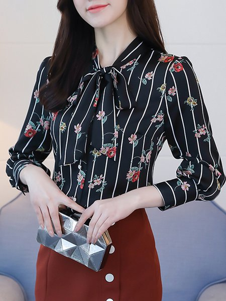 Long Sleeve Casual Chiffon Floral  Blouse