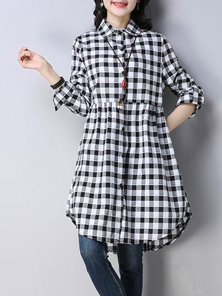 Checkered Shirt Collar Buttoned Long Sleeve Blouse
