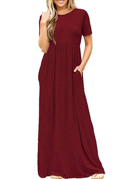 A-line Short Sleeve Solid Cotton Vintage Dress