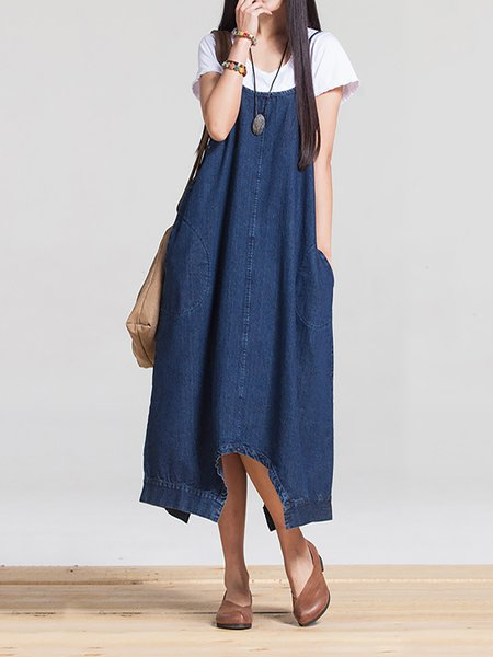 Deep Blue Convertible Pockets Casual Solid Jumpsuit