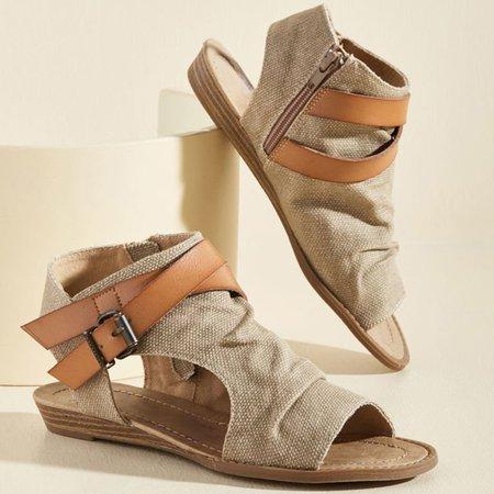 Women Plus Size Denim Cloth Adjustable Buckle Sandals