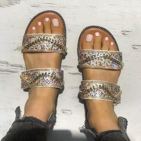 Colorful Rhinestone Daily Flat Heel Slippers