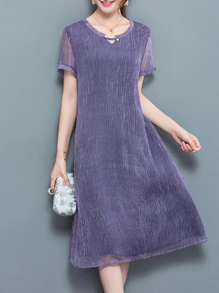 Purple Women Elegant Dress Crew Neck Shift Vintage Plain Dress