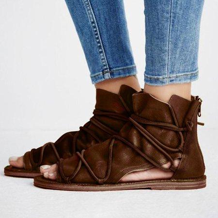Large Size Peep Toe Zipper PU Sandals