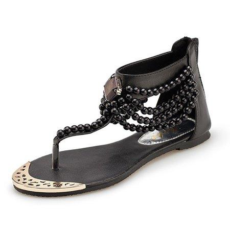 Rhinestone Faux Pearls Embellished Toe Post Sandals