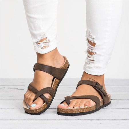 Buckle Gladiator Slip-On Thong Shoes