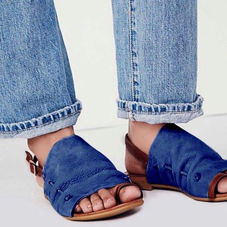 Plus Size Leisure Buckle Casual Flat Roman Sandals