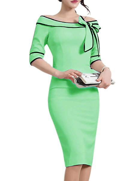 Women Prom Dress Crew Neck Bodycon Daily Half Sleeve Casual Dress