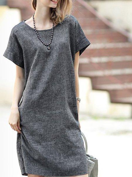 Women Casual Dress Crew Neck Shift Daily Short Sleeve Linen Dress