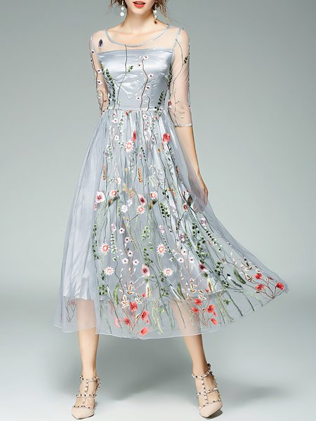 Gray Women Prom Dress Crew Neck Going out Embroidered Floral Dress